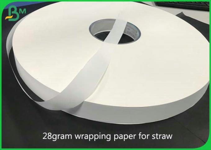 Food Grade 33mm * 5000M 24g 28g White Wrapped Paper For Packing Paper Straw